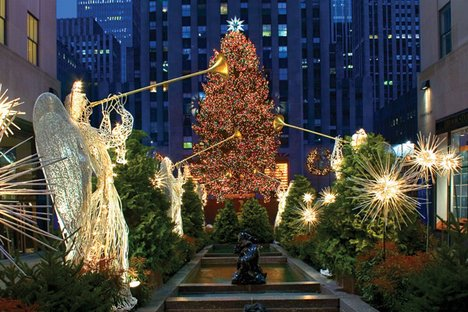 Christmas Lights on Christmas Decorations At The Rockefeller Center In New York Where The