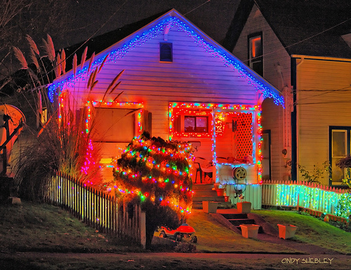 house with solar christmas lights